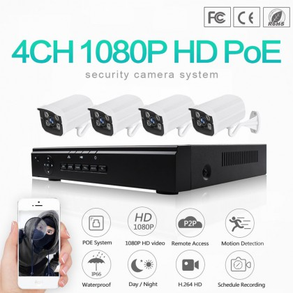 2.0 Megapixel 4CH 1080P Ethernet Cable POE NVR Kit IP66 Waterproof POE CCTV System