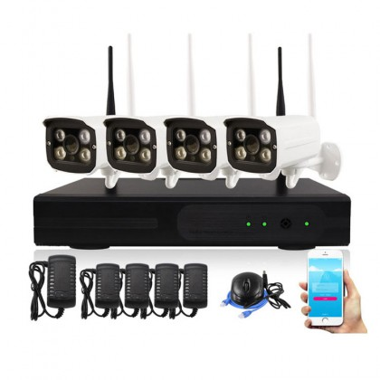 4CH Wireless NVR Kits IP Security CCTV Camera Video Surveillance System Outdoor Waterproof WiFi Antenna