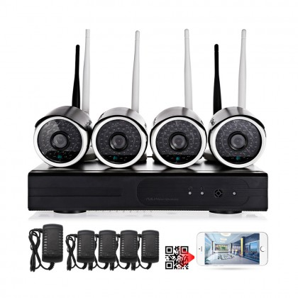 H.264 4CH Wireless NVR Kits Waterproof Security CCTV Camera IP Camera 720P Video Surveillance System
