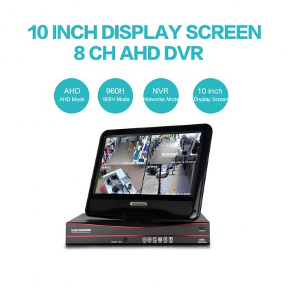 3IN1 AHD 8CH 10 Inch DVR With Home Security Display Professional DVR Recorder