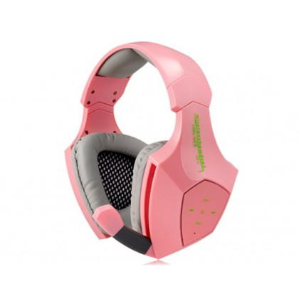 Heavy Bass 7.1-Channel Wireless Bluetooth Headphone with Microphone Ecouteur (Pink)