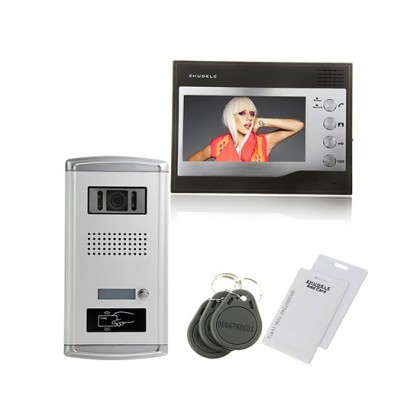 ZDL-28T1+ZDL-027C Wired Night Visual ID Unlocking Color Video Doorphone with 7inch TFT LCD Monitor