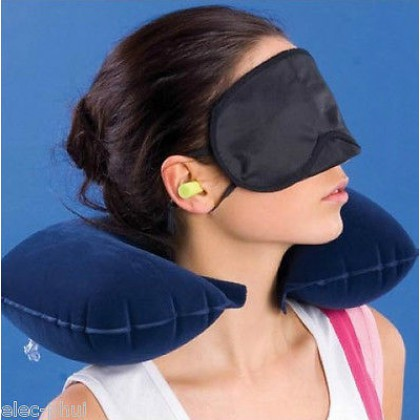 Inflatable Soft Head Neck Rest Compact Air Cushion Pillow For Flight Travel blue