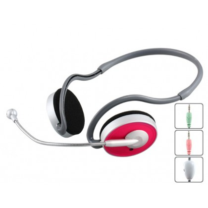 Kanen KM-310 Behind-the-Neck Style 3.5 mm Stereo Headset with Microphone, Volume Control (Red)