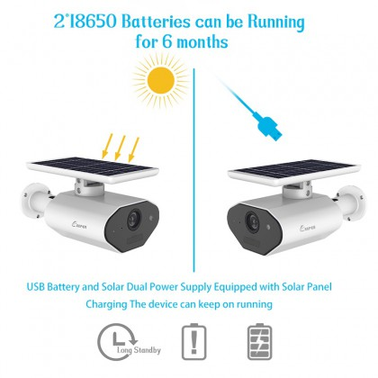 Outdoor Solar Powered Security Camera Low Power Wireless WiFi Camera HD IP66 Waterproof Night Vision Camera