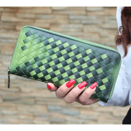 Womens Wallet The Gradient Of Japan And South Korea Purse Wallet (Green)