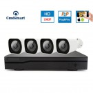 H.265 4CH 1080P POE NVR Kits 4PCS IP Camera Security Video Surveillance System Motion Detection Record P2P
