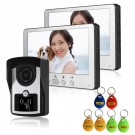 2 Indoor monitor ID Card 7 inch TFT LCD Night Vision Video Door Hone Inter LCD IR Key Panel Doorbell