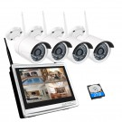 "1080P Wifi CCTV Camera System 4CH Wireless NVR with 12"" LCD Monitor 2MP Outdoor Security Camera Video Surveillance Kit"