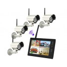 "7"" TFT 2.4G Wireless Cameras Video Baby Monitors 4CH Quad DVR Security System With IR night light Cameras (White)"