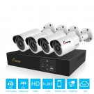 Outdoor Security Camera CCTV System H.265 4CH POE NVR Kit 2MP 1080P IP Camera IP66 Waterproof P2P Surveillance Set