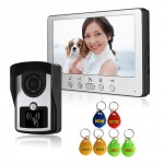 ID Card 7 inch TFT LCD Night Vision Video Door Phone Inter LCD IR Key Panel Doorbell