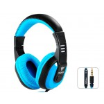 3.5mm Plug Multi-functional Stereo On-ear Headset Headphones with Microphone for Apple Devices (Blue)