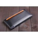 leather with PU wallet brand turning slender men's wallets long thin Korea walet purse wallet id window