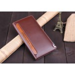leather with PU wallet brand turning slender men's wallets long thin Korea walet purse wallet