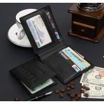 Leather Wallet  for Men Bifold Business Card Holder Coin Pocket Money Bag Purse (Black)