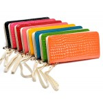 Hot Selling Standard Wallets Wristlet Bag, Fashion Women Patent PU Leather Day Clutches with Stone Pattern Purse