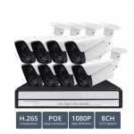 8CH 1080P H.265 POE NVR CCTV System 2MP Outdoor IP66 IP Camera P2P Onvif Motion Detect APP View Security Surveillance Kit