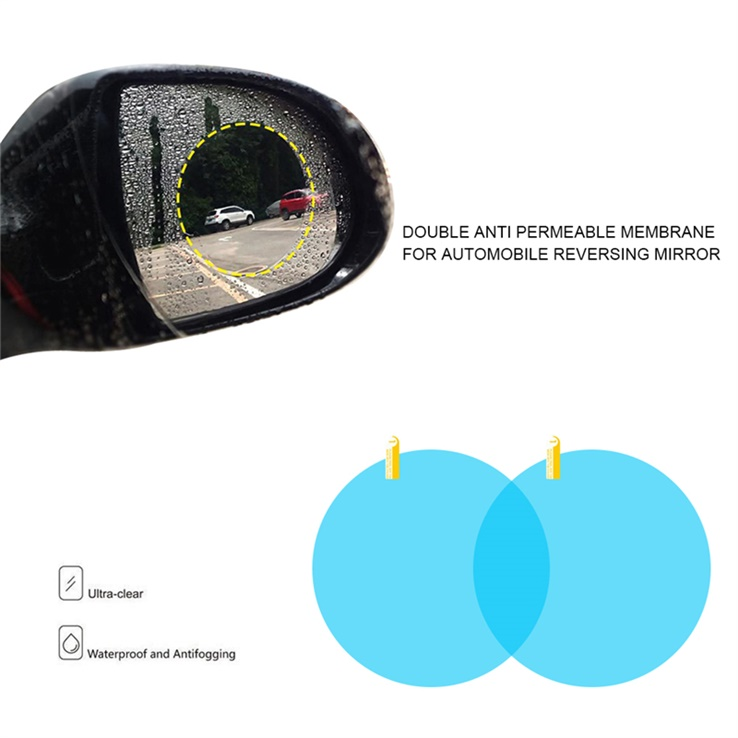 2 PCS Car Rearview Mirror Anti-Fog Membrane Waterproof Rainproof Car Mirror Window Protective Film Car Sun Shade